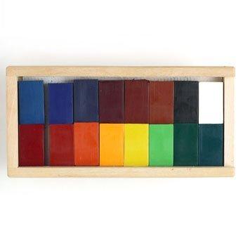 (Stockmar Beeswax 16 Block Crayons in Wooden Storage Case)
