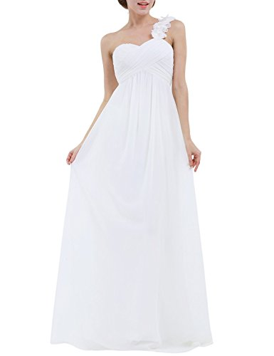 iiniim Women's Chiffon One-Shoulder Evening Prom Gown Wedding Bridesmaid Long Dress Ivory US Size 16