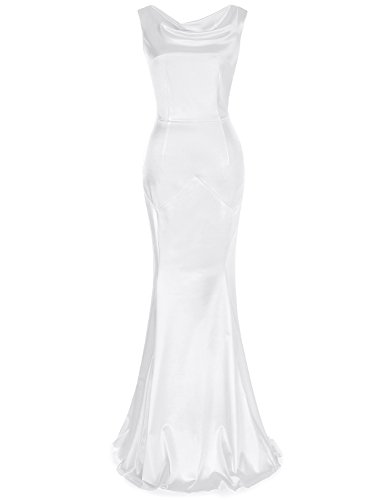 MUXXN Women's 30s Brief Elegant Mermaid Evening Dress (L, White) -