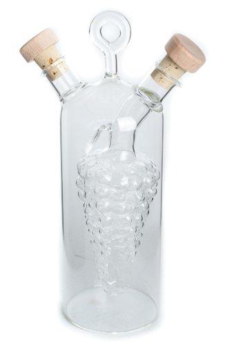 Duospenser Oil & Vinegar Traditional Grape Design Glass Bottle Dispenser Pourer