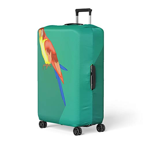 Pinbeam Luggage Cover Blue Animal Ara Parrot Colorful Avian Beak Beautiful Travel Suitcase Cover Protector Baggage Case Fits 26-28 inches