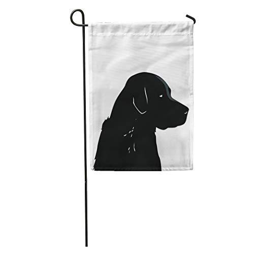 Semtomn Garden Flag Dog Black Lab Animal Companion Man Best Friend Pet Pound Home Yard House Decor Barnner Outdoor Stand 12x18 Inches ()