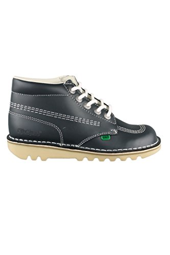 Kickers Kick Hi W Core pour femme Blanc/Bleu Marine à lacets Chaussures Bottes en cuir