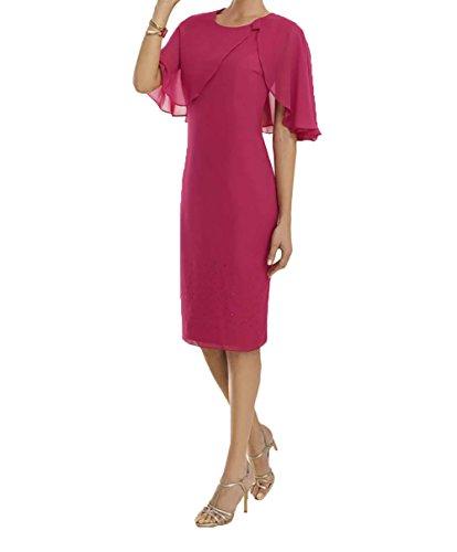 Charmant Chiffon Damen Kurz Abendkleider Festlichkleider Brautjungfernkleider Abschlussballkleider Pink Pink Promkleider ppvrRqw7n