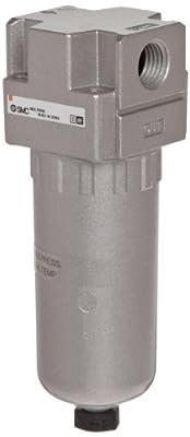 """SMC AFD20-N02C-2Z Mist Separator, Removes Oil Mist, Metal Bowl, Float Auto Drain (N.C.), 0.01 Micron, 5 scfm, 1/4"""" NPT"""