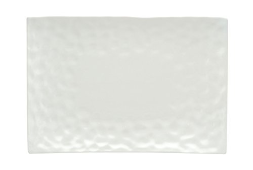 Red Vanilla Marble Rectangular Entree Plate, Set of 6, 10.5