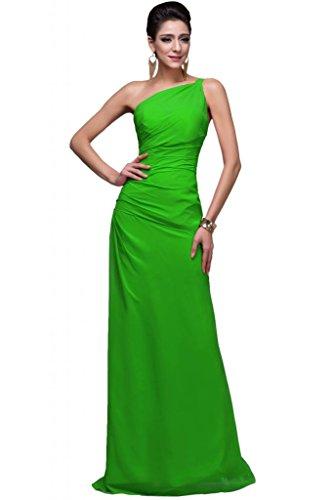 sunvary Gorgeous Una Parte Trasera Abierta vestidos de gasa para el hombro Pageant Noche verde manzana