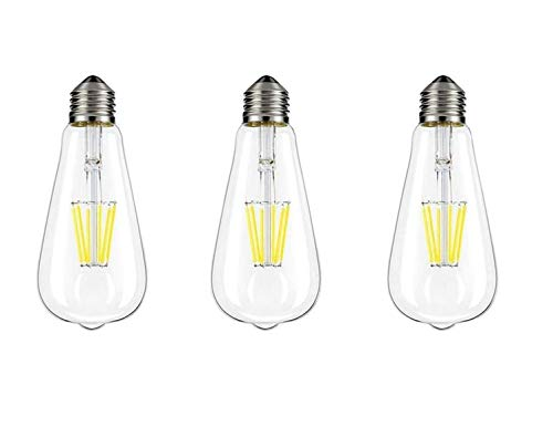 (XPLight LED Edison Bulb,100W Incandescent Equivalent 1000LM Daylight White 5000K,E26 Medium Base, ST64 Vintage LED Filament Bulbs,Non-dimmable, Pack of 3)