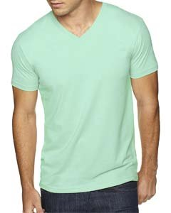Next Level Apparel 6440 Mens Premium Fitted Sueded V-Neck Tee - Mint, - Apparel Tees