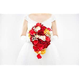 Abbie Home Cascaded Red Rose Bridal Bouquets - Pink Peony Calla Lily Wedding Flowers in Large Size (A Cascading Bouquet) 66