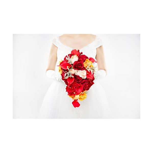Abbie Home Cascaded Red Rose Bridal Bouquets – Pink Peony Calla Lily Wedding Flowers in Large Size (A Cascading Bouquet)