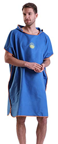 Megawodar Microfiber Poncho Towel for Adult Surf Beach Wetsuit Changing Towel Bath Robe Hooded Poncho for Men -One Size Fit All (Vallarta Blue)