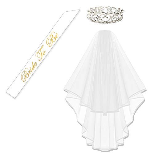 KUNG FU PARTY Glitter Rhinestone Bride to Be Tiara & White Double Ribbon Edge Center Cascade Bridal Wedding Veil with Comb & Bride to Be Satin -