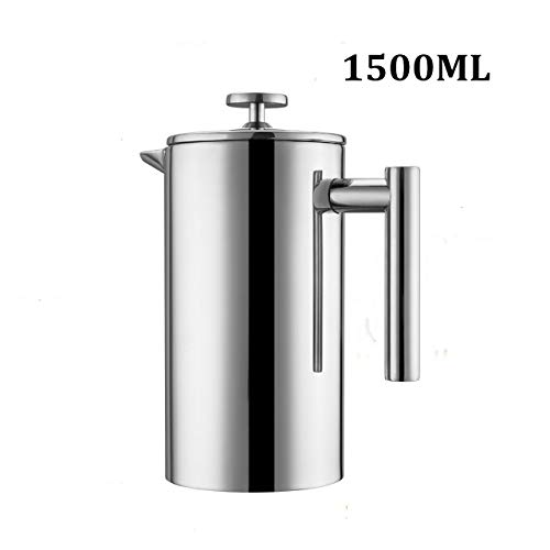 Meelio French Press, Double-Wall Insulated Stainless Steel Coffee Maker With 2 Extra Filter Screen, 50 OZ, 12 Cups/6…