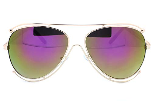(Violet Mirrored Designer Inspired Double Wire Large Sunglasses Metal Frame Women)