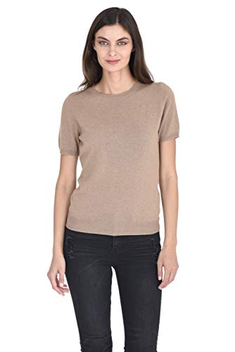 State Cashmere Women's 100% Pure Cashmere Crew Neck Short Sleeve Sweaters