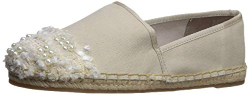 (Circus by Sam Edelman Women's Lane Moccasin Modern Ivory Textured Woven Canvas/Pearl Boucle 8 M US)