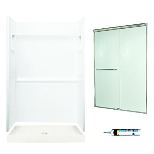 Swanstone SVP3448010-M44570NR Veritek Alcove Shower Kit 48-Inch x 34-Inch x 72-Inch with Frameless Nickel Door and Rain Glass, -