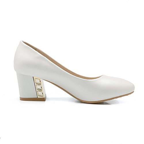 Amoonyfashion Femmes Pointu Bout Fermé Pull-on Pu Solide Kitten-talons Pompes-chaussures Blanc