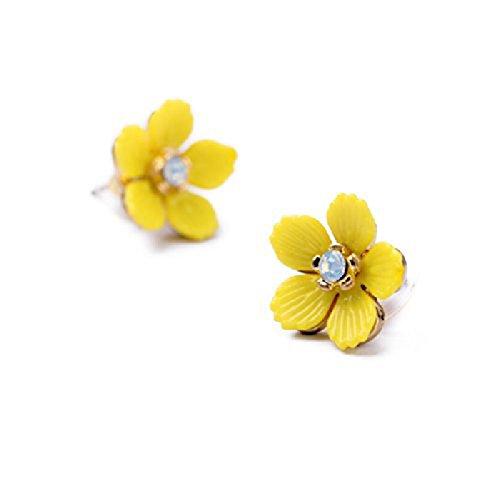 MUZHE Cute Flower Stud Earrings - Sweet Yellow Sunflower Stud Earrings for Girls,Enamel Plant Stud Earrings for Holiday (small - Enamel Flower Earrings Yellow