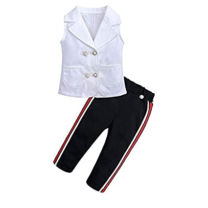 Baby Toddler Girls Spring Clothes Outfits 1-5 Years Old Kids Button Sleeveless Vest Tank Tops Striped Pants Set