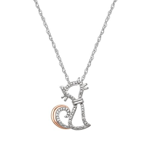 """Jewelili 14K Rose Gold Plated Sterling Silver Diamond Cat Whimsical Pendant Necklace, 18"""""""