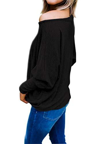 Pipistrello Donna Felpa Ampia a Top Maglietta Tinta Taglie Tumblr Fiocco con T Ragazza Larga Inverno Blusa Maglia Forti Barca Camicetta Nero Tunica Manica Basic Moda Shirt Unita Scollo Oversize Pullover 0t0qTwx