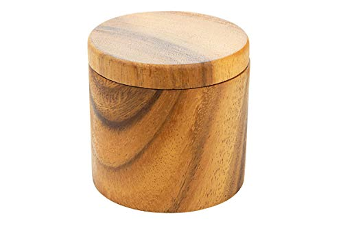 Villa Acacia Wood Salt Pot - Natural Wooden Salt Box with Easy Access Lid 3 x 3 Inches