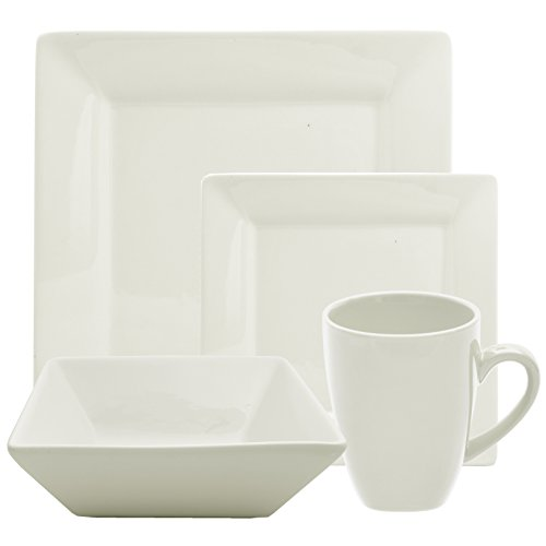 10 Strawberry Street 16 Piece  Square Dinnerware Set, Cream White (Piece 16 Set Dinnerware Square)