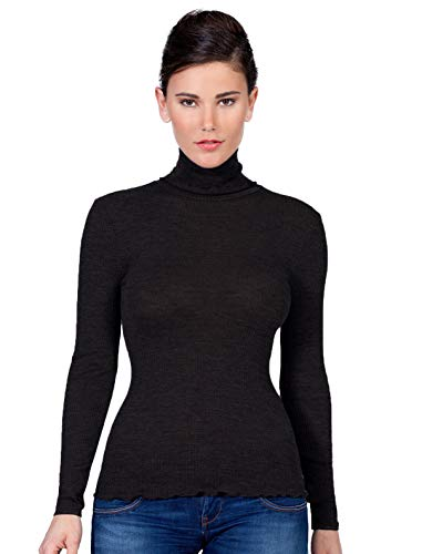 - EGI Luxury Wool Silk Turtleneck Long Sleeve Top. Proudly Made in Italy. (S/M, Nero)