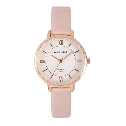 Womens Fashion Watch,Ladies Elegant Waterproof Quartz Rose Gold Case Roman Numeral Casual Wrist Watches with Soft Genuine Leather Band (Pink) (Watch Fashion Elegant)