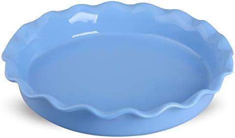DUS Porcelain Pie Pan Pie Plate Pie Dish Baking Dish Pan with Ruffled Edge for Apple Pie Dessert, Blue
