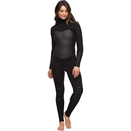 Roxy Womens 5/4/3Mm Syncro Plus - Hooded Chest Zip Wetsuit - Women - 14 - Black Black - Chest Hooded Zip Wetsuit