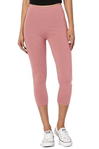 TheMogan Women's Basic Cotton Spandex Cropped Capri Leggings Dusty Rose (Below Knee Leggings)