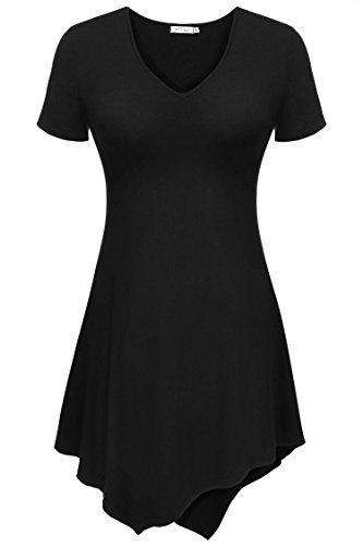 Meaneor Womens V Neck Short Sleeve Handkerchief Hem Lightweight Flare Tunic Top
