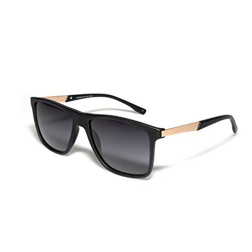 O-O Retro Polarized Sunglasses for Men Women, Horn Rimmed, Ultra Light, 100% UV Protection