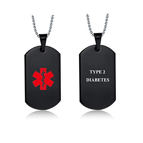(Pre-Engraved Stainless Steel Emergency Medical Alert ID Dog Tag Pendant Necklace for Men & Women (Black-Type 2 Diabetes))