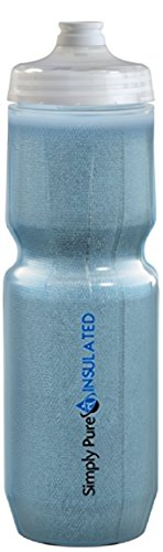 Purist 23 Oz Insulated Water Bottle with Fixy Cap Sport Bottle - Stays 20% Colder Than Other Insulated Bottles (Tinted Blue, Fixy)