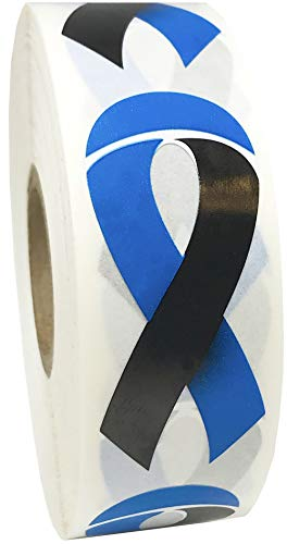 - Black and Blue Awareness Ribbon Stickers 2 Inch 500 Adhesive Stickers