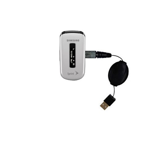 Gomadic compact and retractable USB Charge cable for Samsung SPH-M240 - USB Power Port Ready design and uses TipExchange