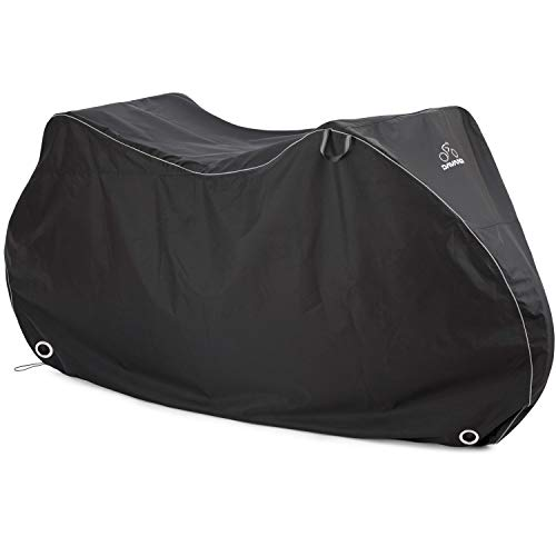 Bike Travel Cover - DAVANDI Bike Cover XL - Waterproof Outdoor Bicycle Storage for 2 Bikes - Heavy Duty Ripstop Material - Offers Constant Protection for All Types of Bicycles All Through The 4 Seasons