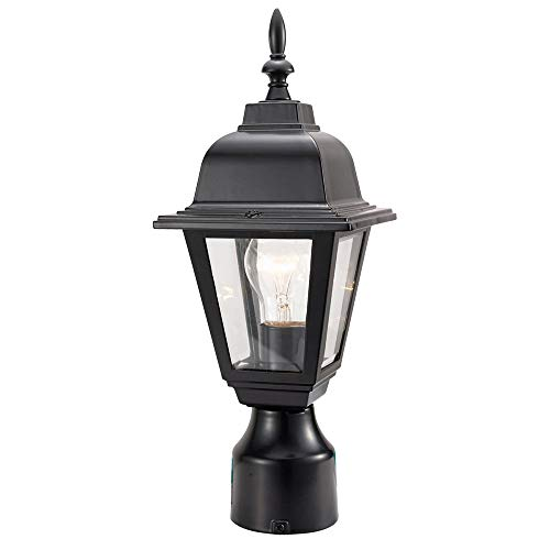 Design House 507509 Maple Street Outdoor Post-Light, 16-Inch by 6-Inch, Black Die-Cast Aluminum ()