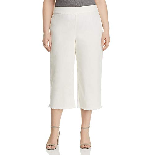 Nic + Zoe Womens Plus Crop Stretch Wide Leg Pants White 16W