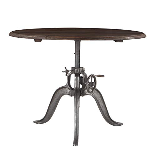 (World Interiors Reclaimed Teak and Iron Round Adjustable Dining Table)