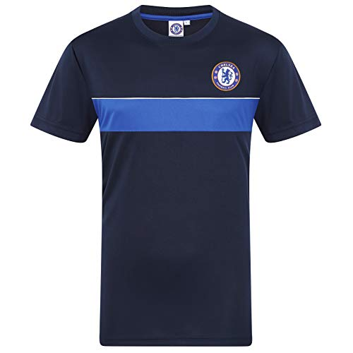 Chelsea FC Official Gift Mens Poly Training Kit T-Shirt Navy Royal Stripe Large