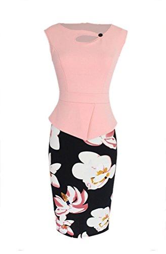 Baimil Womens Manches Floral Couture Ol Robe D'affaires De Crayon De Banlieue Rose