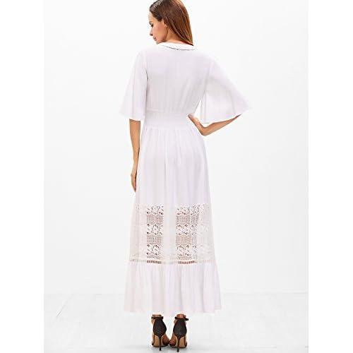 b1c303a04ed Milumia Women's Bohemian Drawstring Waist Lace Splicing White Long Maxi  Dress delicate