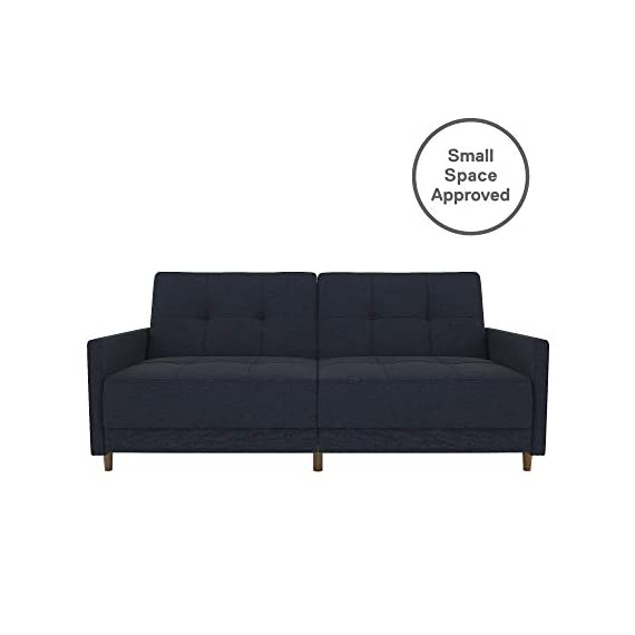 DHP Andora Coil Futon Sofa Bed Couch with Mid Century Modern Design - Navy Blue Linen - Mid-Century Modern design with tufted seat and back cushions and wooden legs. Seat is made with independently encased coils providing additional comfort. Includes center legs for additional support. - sofas-couches, living-room-furniture, living-room - 31lUTcjh ZL. SS570  -