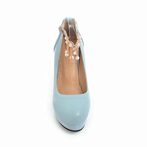Mee Shoes Damen mit Absatz Quasten Plateau Pumps Blau