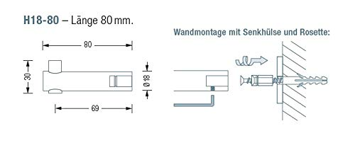 Edelstahl massiv Wandhaken /Ø18 mm L/änge 83 mm inkl.Hutrosette R25H18 /Ø25 mm x 3 mm handgeschliffen 100/% Made in Germany PHOS Edelstahl Design H18-80/&R25